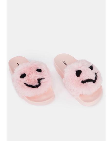 All Smiles Faux Fur Slides