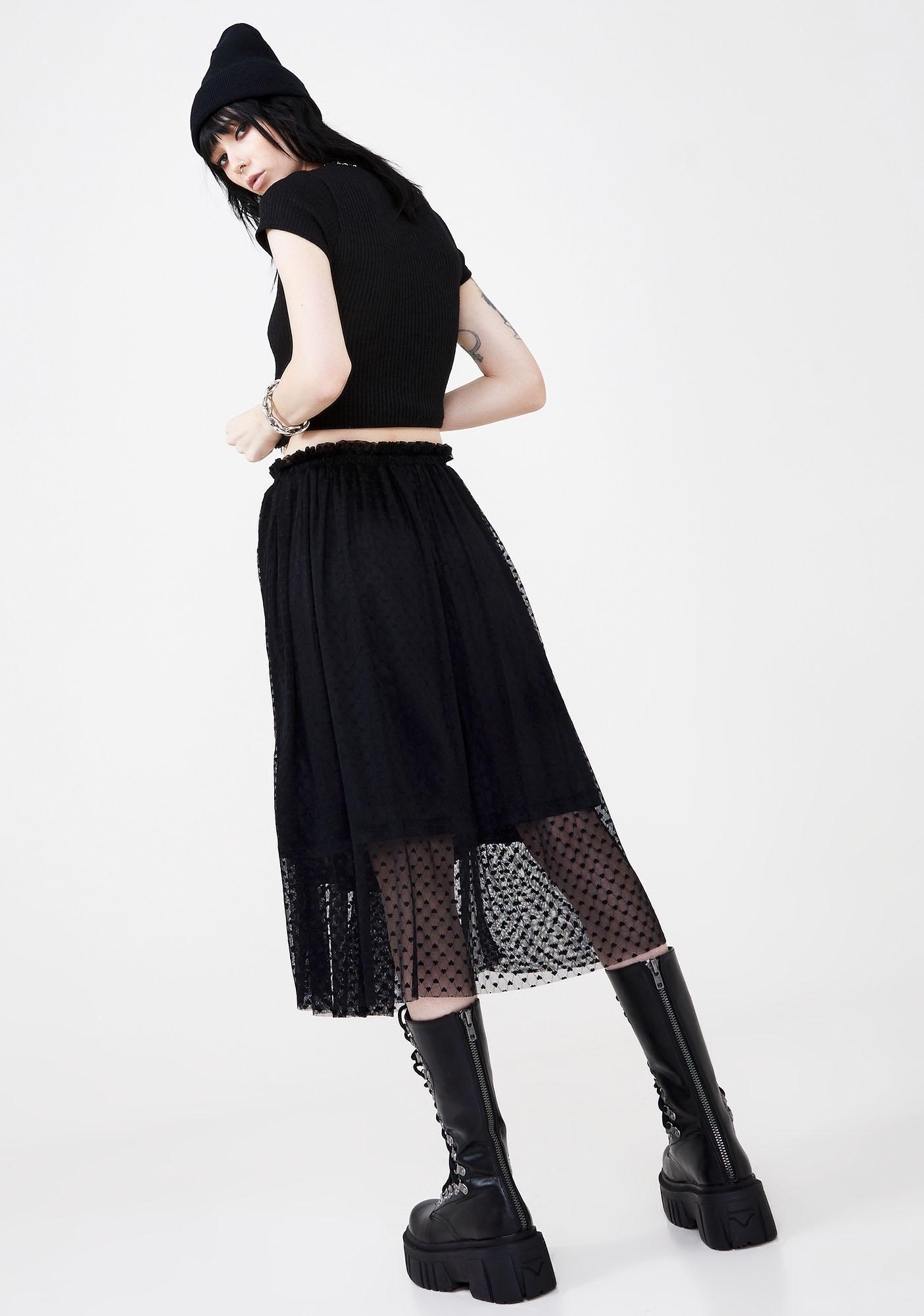 Disturbia Broken Heart Midi Skirt