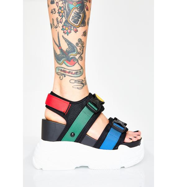 Anthony Wang Rainbow Peach Platform Sandals