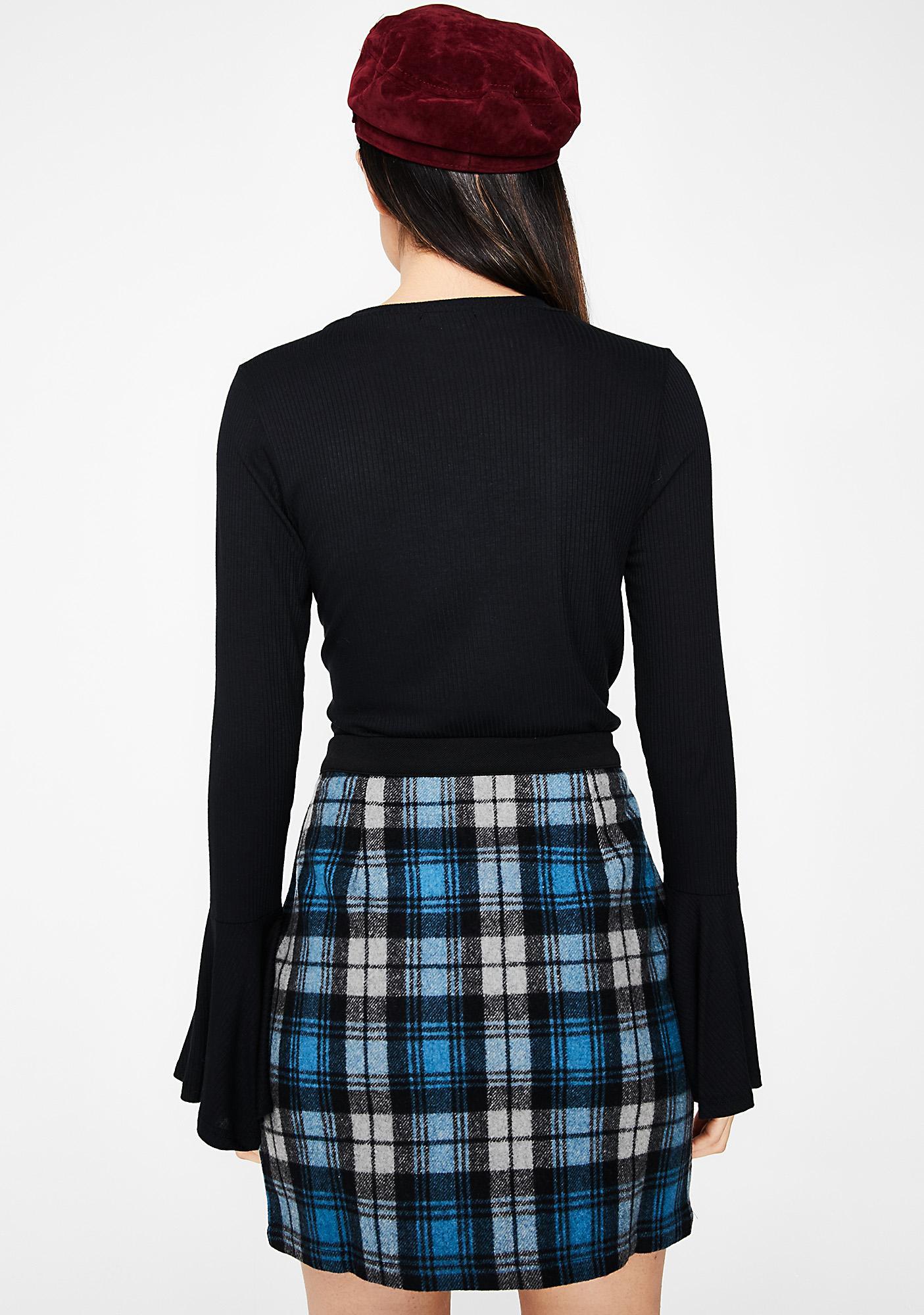 Sky Break Time Plaid Skirt