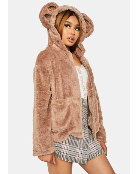Mocha Cuddle Bear Faux Fur Jacket