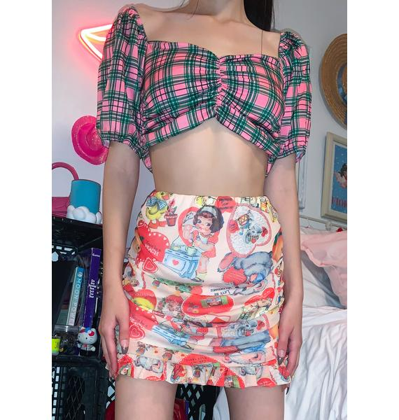 NEW GIRL ORDER Pink & Green Gingham Crop Top