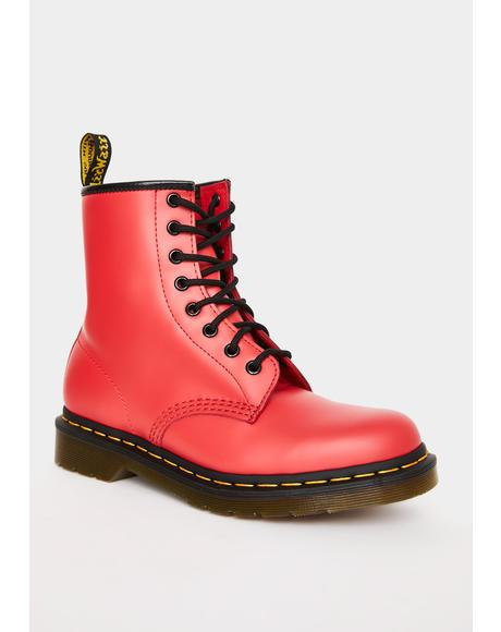 Red 1460 Smooth Color Pop Boots