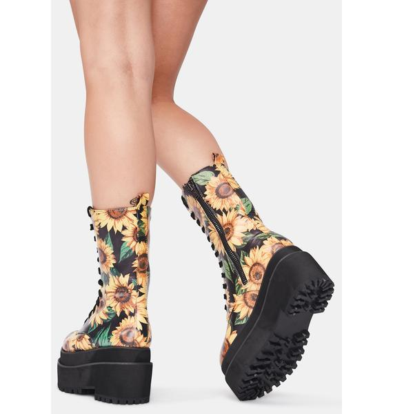 Current Mood Petal To The Metal Combat Boots