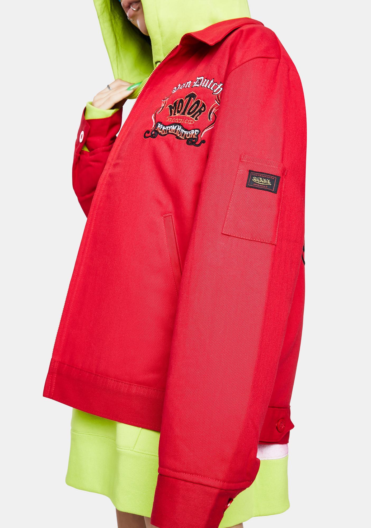 Von Dutch Red Vintage Gas Jacket