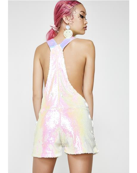 Pink Unicorn Short Overalls