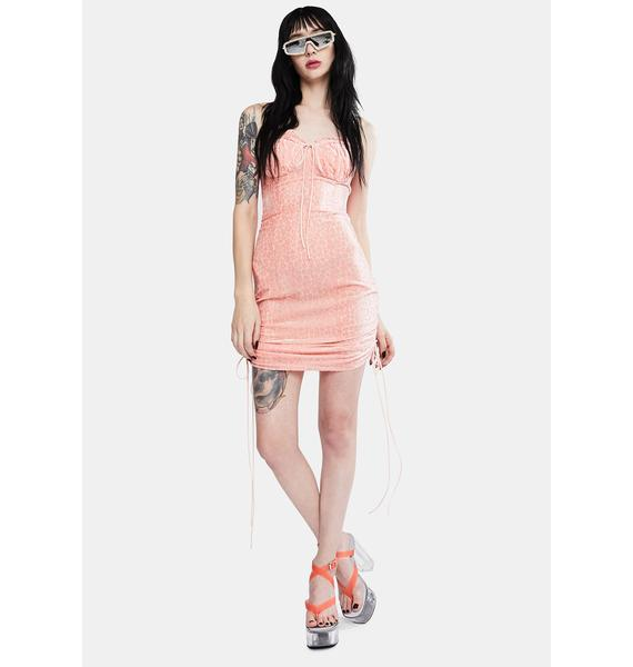 Glamorous Pink Daisy Ruched Dress