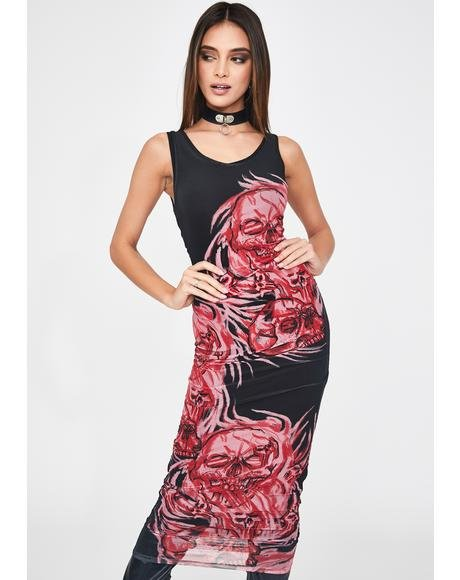 Double Layer Mesh Skull Print Midi Dress