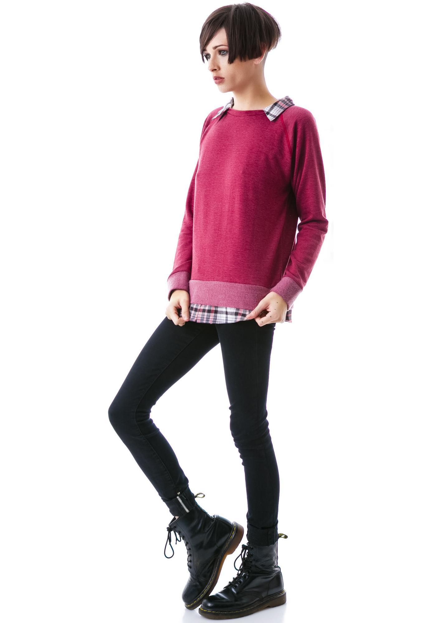 JET by John Eshaya Preppy Collared Sweatshirt