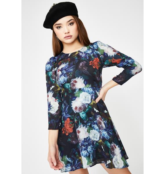 Selkie Floral Long Sleeve Babydoll Dress