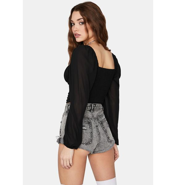 Night Just Too Much Ruched Crop Top