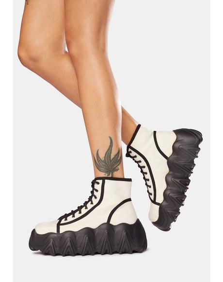White Sneakin' Away Chunky Platform Sneakers