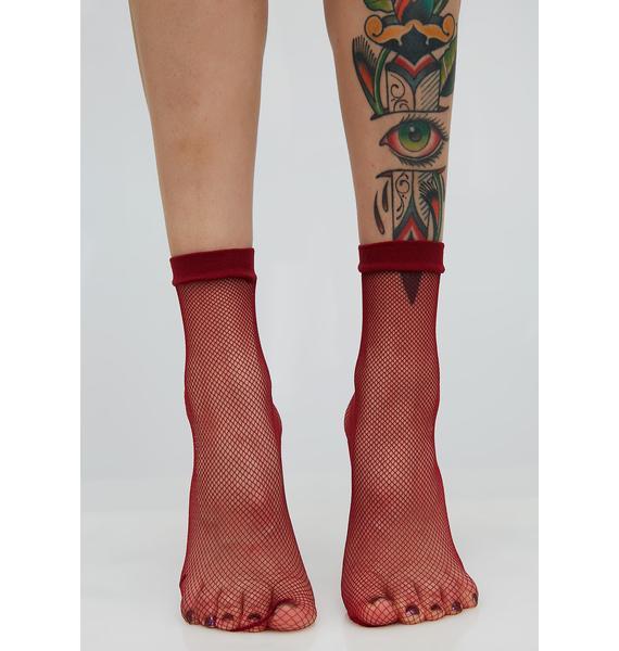 Wine Quick Step Fishnet Socks