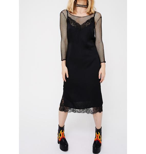 Midnight Don't Slip Midi Dress