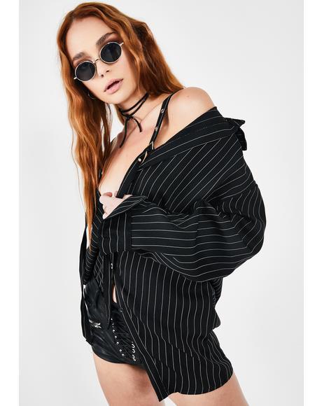Black Pinstripe Buckle Shirt