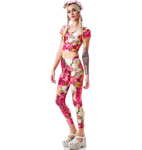 Zara Terez Pink Flower Patch Leggings