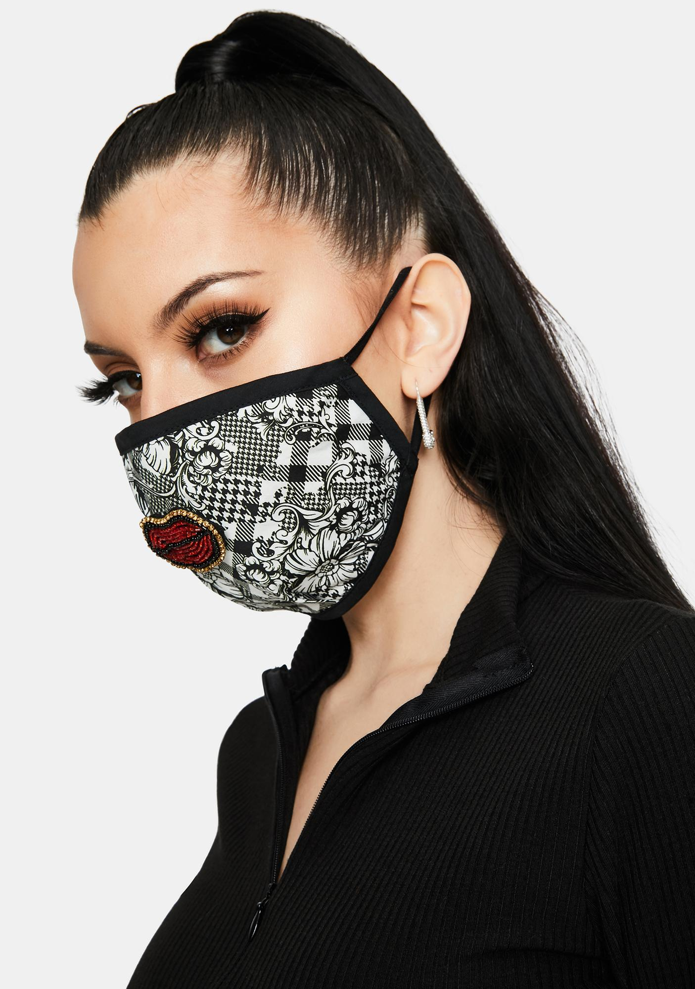 Dash of Pep Checkered Floral With Embroidered Lip Face Mask
