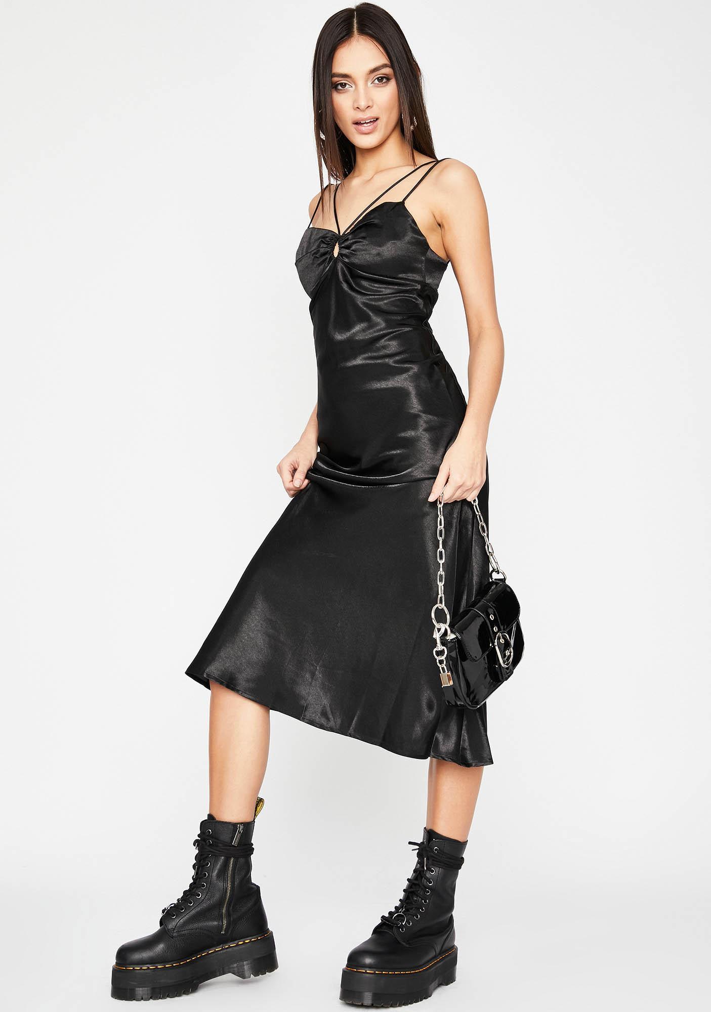 Sin Don't Speak Satin Midi Dress