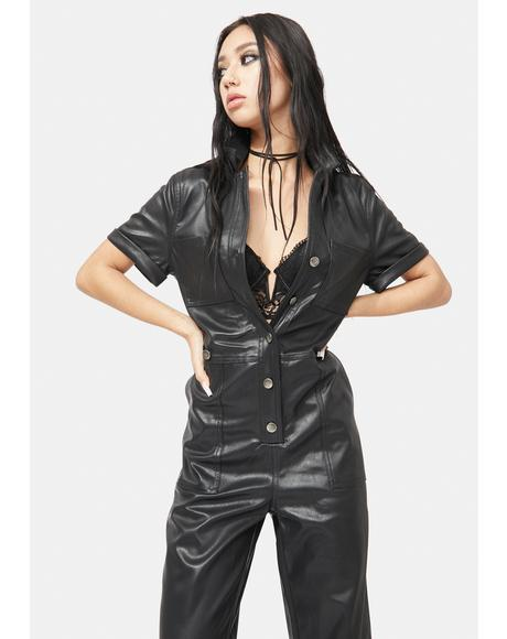 Liaison Vegan Leather Utility Jumpsuit