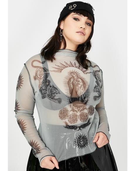Plus Angel Tiger Print Mesh Top