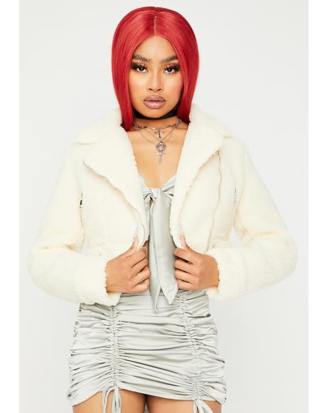Cream Crop Me Out Sherpa Jacket