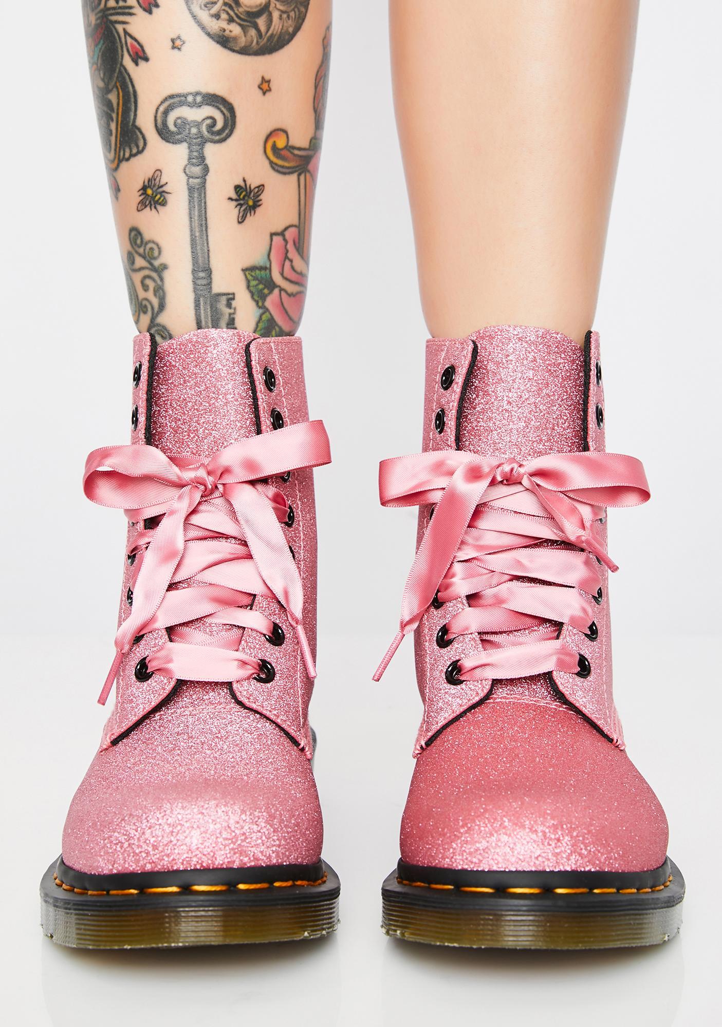d742a7d6f35fb Dr. Martens 1460 Pascal Pink Glitter Boots | Dolls Kill