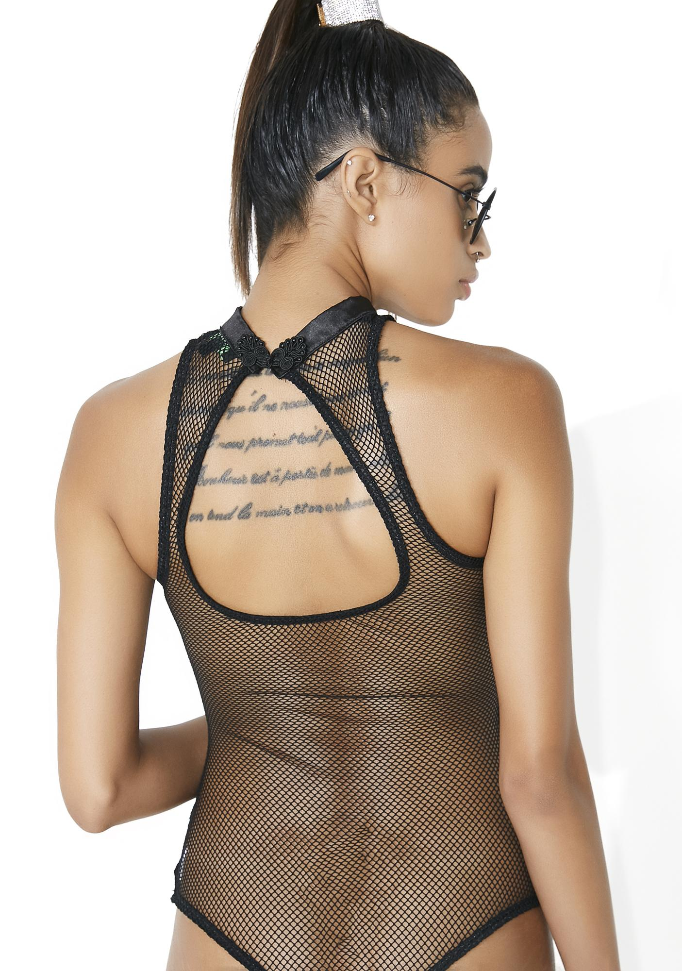 Club Exx Bad Luck Dragon Fishnet Bodysuit