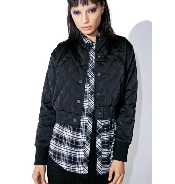 Kendall + Kylie Quilted Bomber Jacket