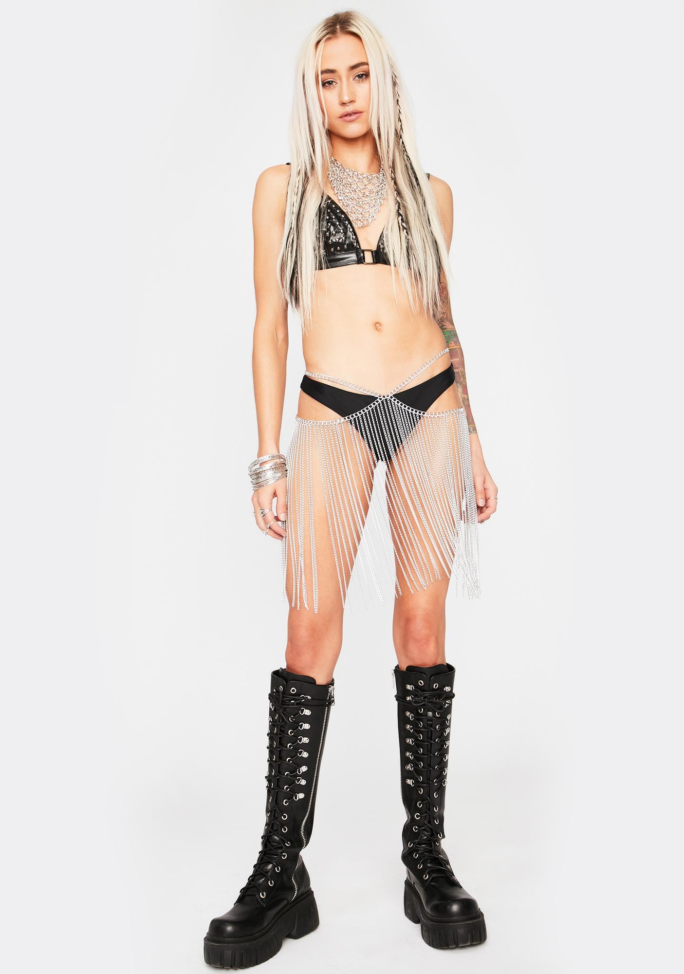 Dancer Daze Chain Fringe Skirt