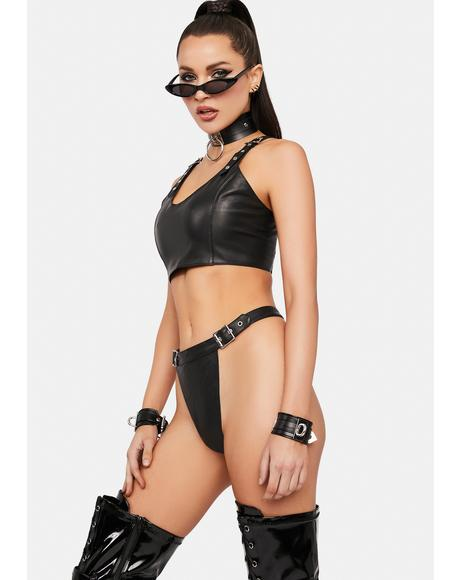Freak Me Vegan Leather Lingerie Set