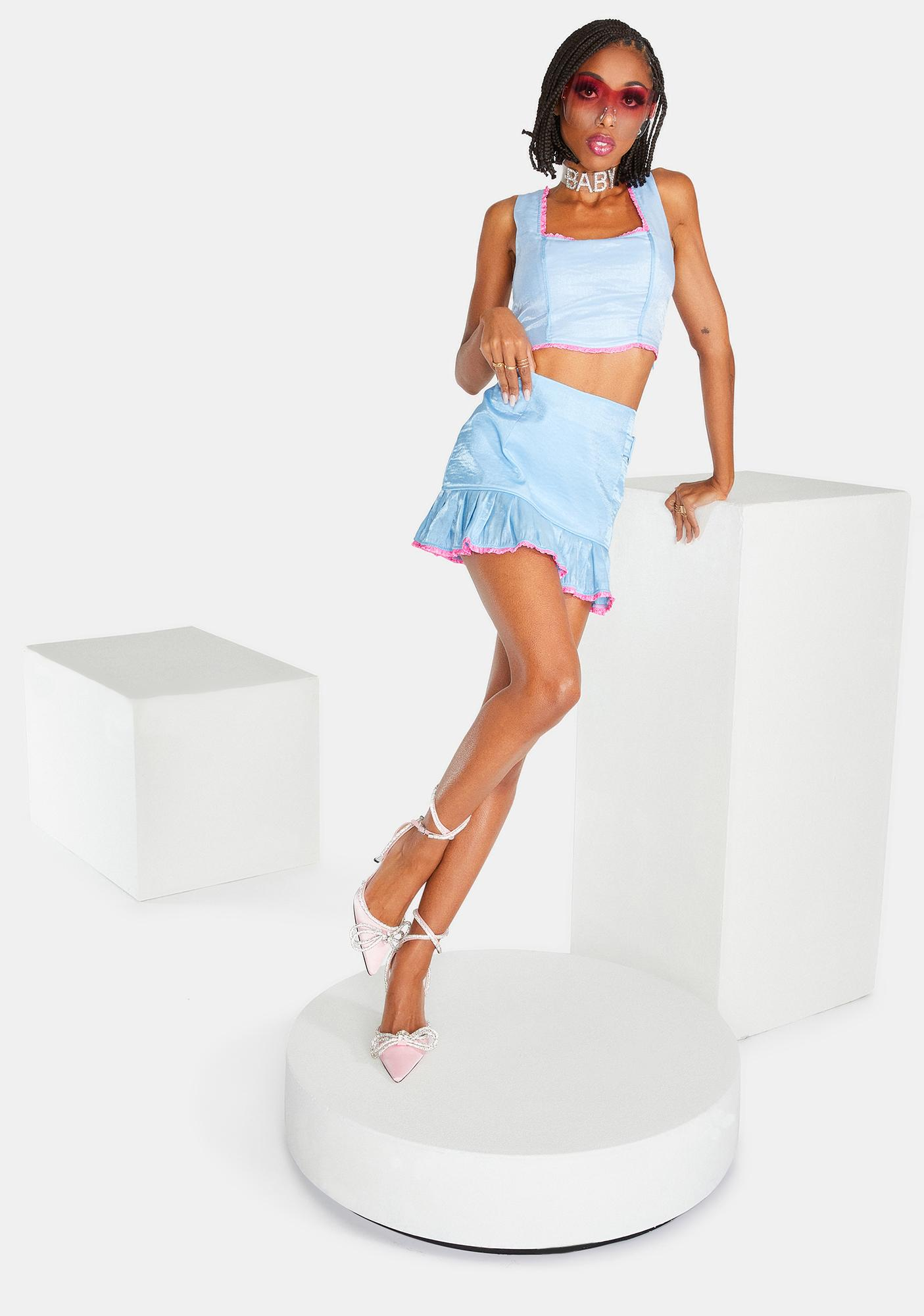 Elsie & Fred Baby Blue Billie Mini Skirt