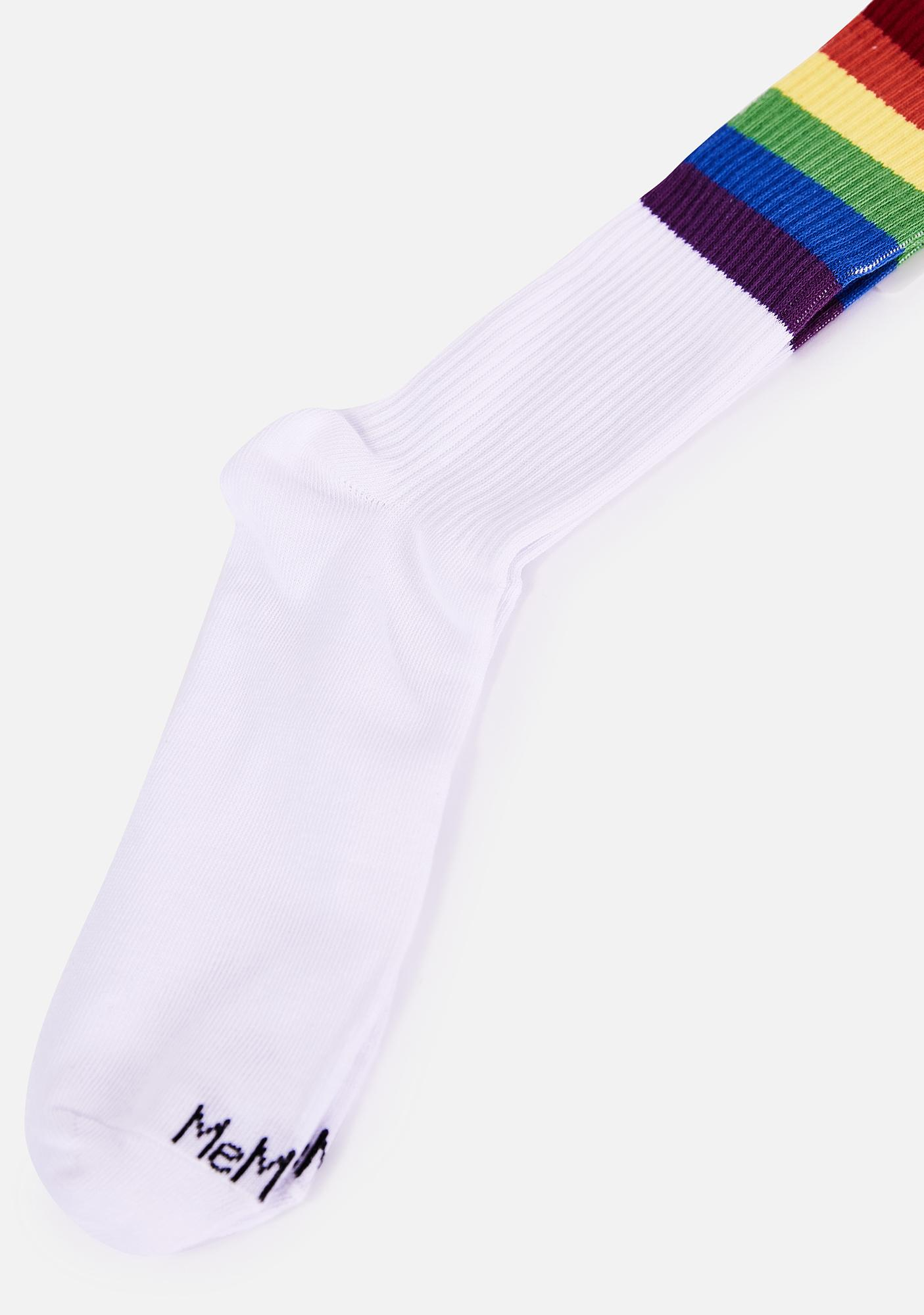MeMoi Rainbow Rugby Crew Socks