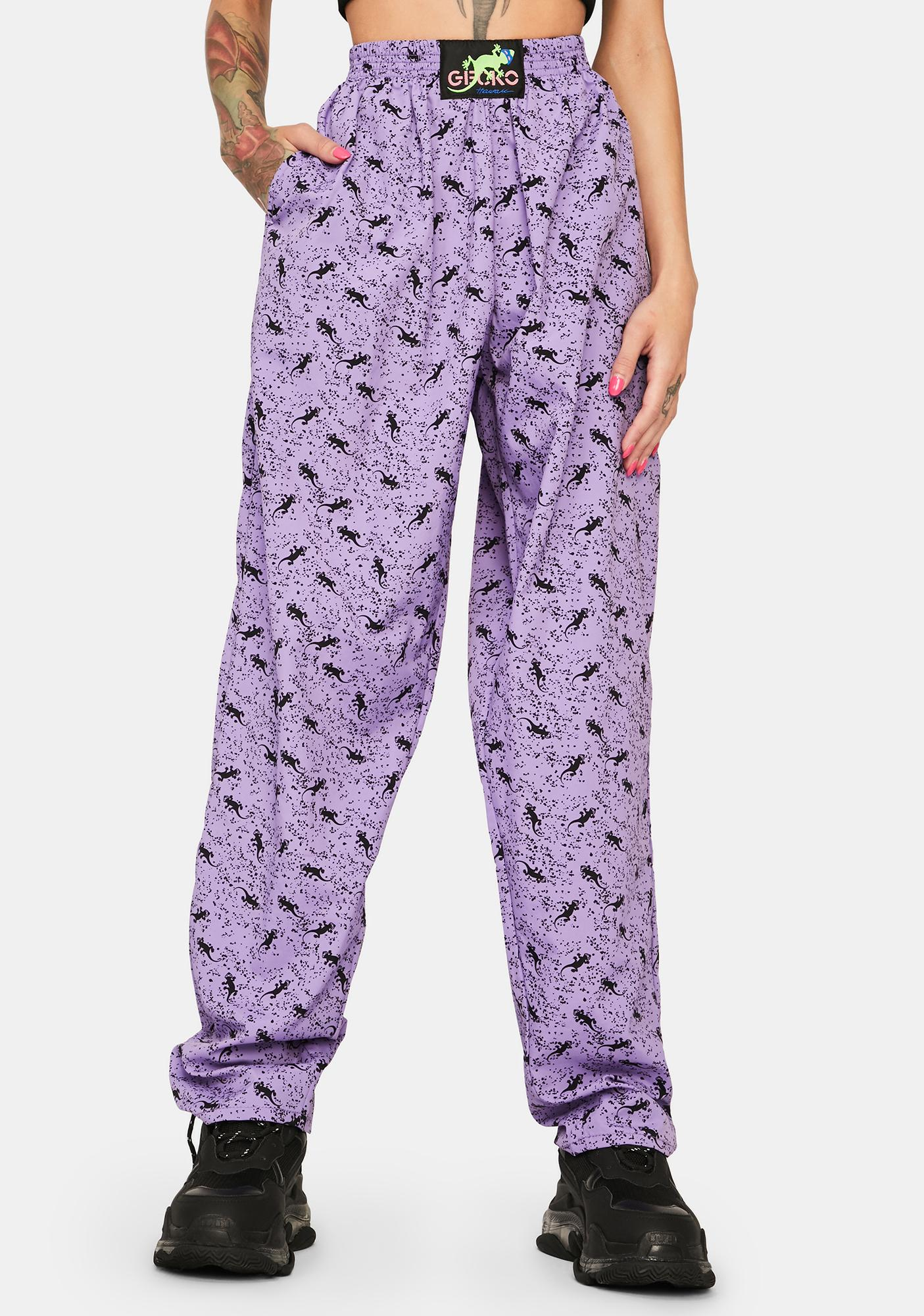 Gecko Hawaii Purple Mini Gecko Beach Pants