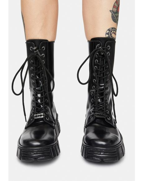 High Rise Leather Combat Boots