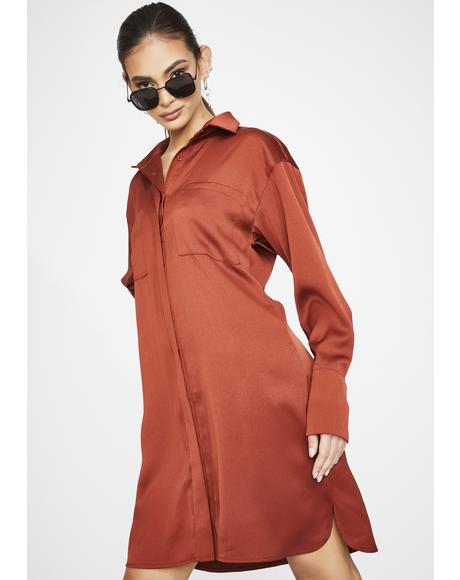 Rust Satin Shirt Dress