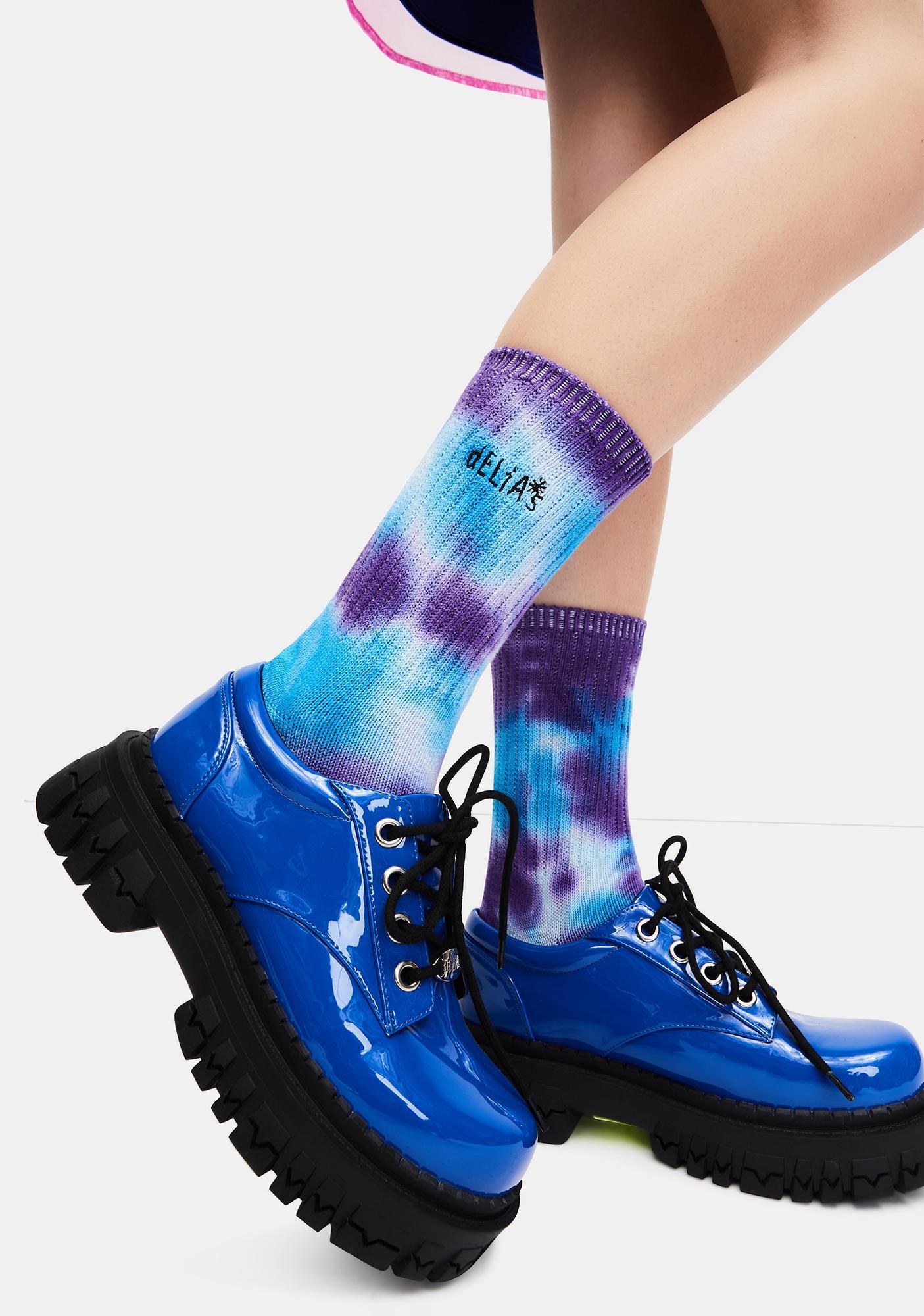 dELiA*s by Dolls Kill Royal Day Tripper Tie Dye Logo Socks