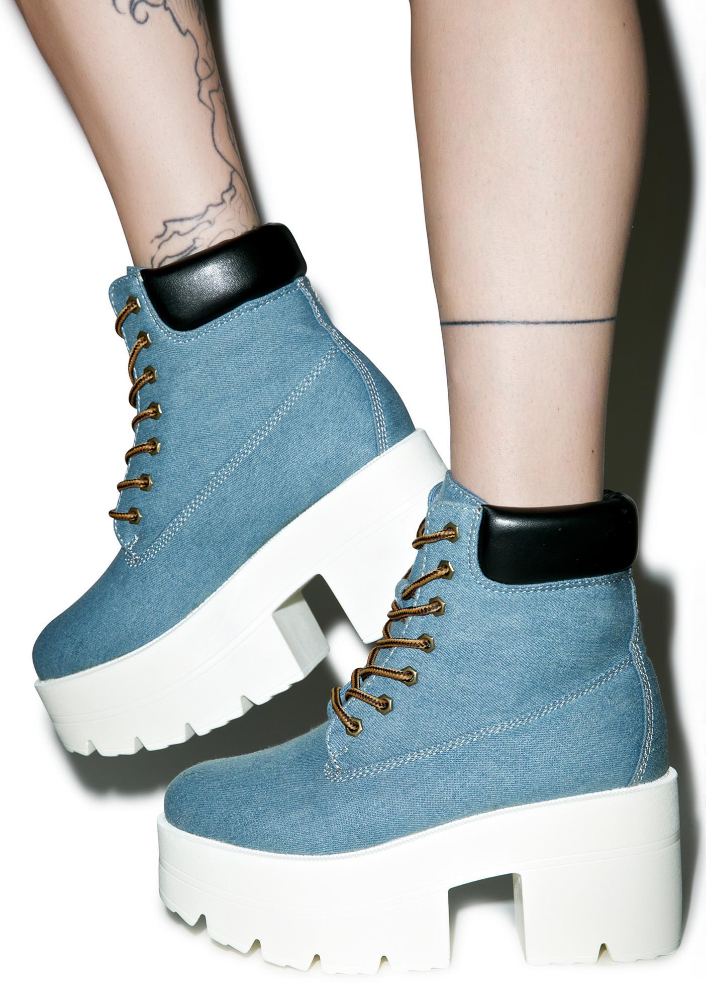 Denim Ryder Platform Boots