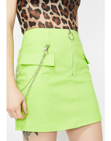 Lime Trust Fund Mini Skirt