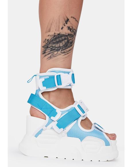 Light Blue Mulberry Platform Sandals