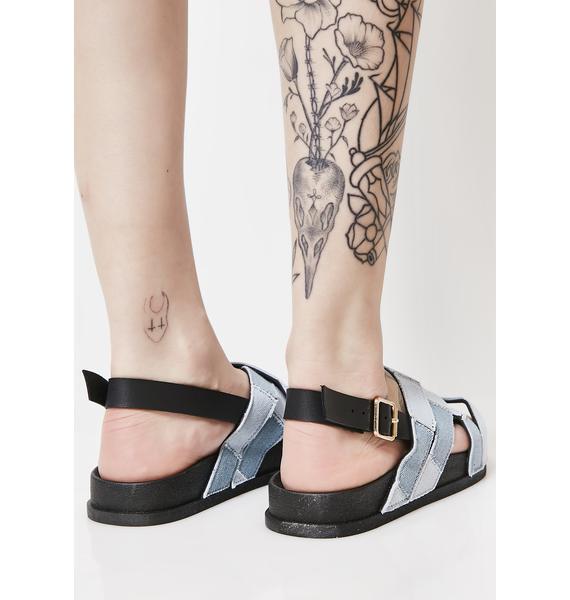Patched Up Denim Sandals