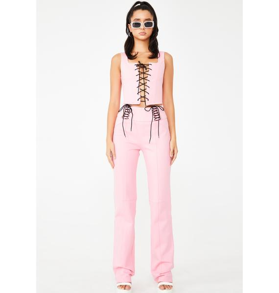 I AM GIA Pink Memphis Lace-Up Top