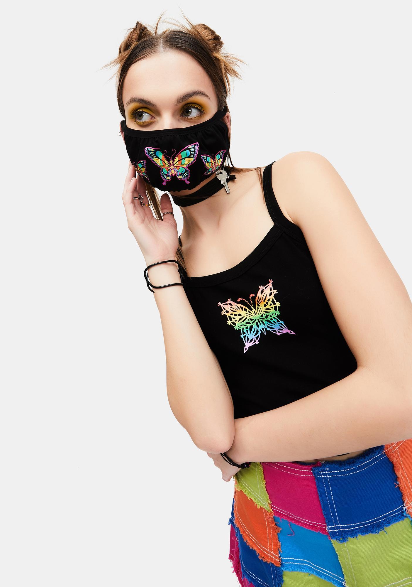 dELiA*s by Dolls Kill Frenzy Flutter Rainbow Butterfly Face Mask