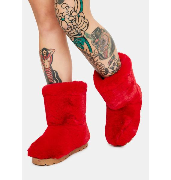 Red Don't Bother Me Faux Fur Boots
