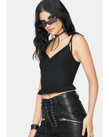 Best First Date Pleated Crop Top