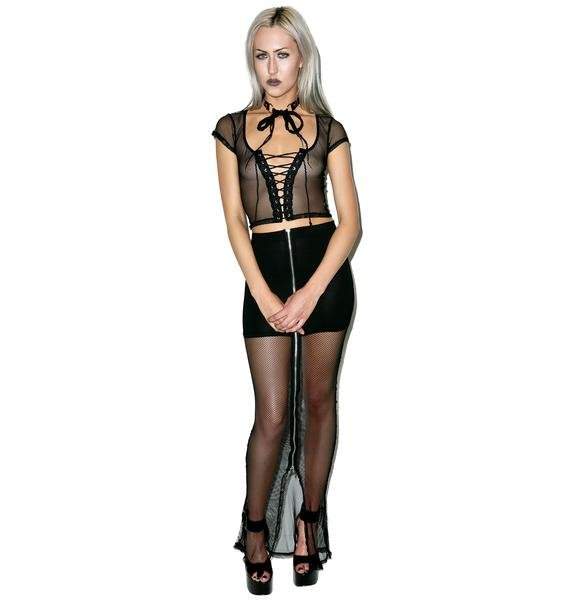 Lip Service Fishnet Maxi Skirt