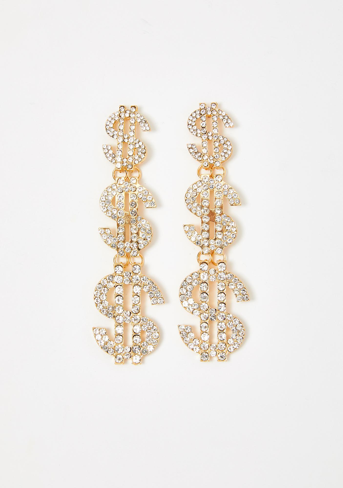 Cash Flow Rhinestone Earrings