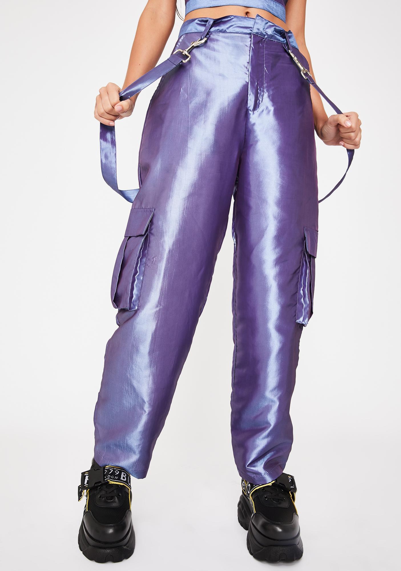 The Ragged Priest Glitch Metallic Cargo Pants