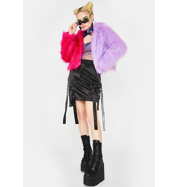 Ivy Berlin Two Faced Purple Pink Faux Fur Jacket