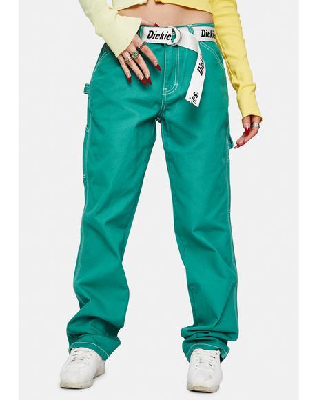 Bottle Green Carpenter Pants With Logo Belt