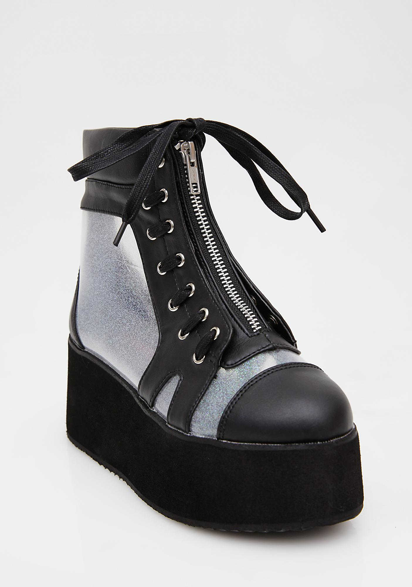 Demonia See-Thru Holographic Platform Ankle Boots